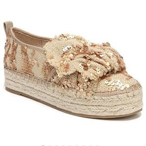 NEW. Sam Edelman. Cabrera gold sequin espadrille 8